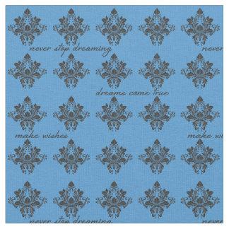 Materia textil azul soñadora del damasco telas