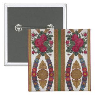 Materia textil con las guirnaldas de margaritas pin cuadrado