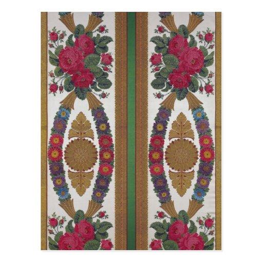 Materia textil con las guirnaldas de margaritas postal