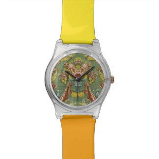 Materia textil con un adorno floral de repetición relojes de pulsera