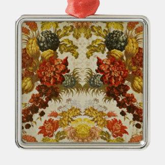 Materia textil con un estampado de flores de adorno navideño cuadrado de metal
