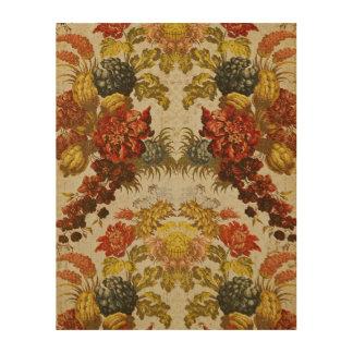 Materia textil con un estampado de flores de impresión en madera