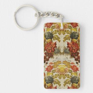 Materia textil con un estampado de flores de llavero rectangular acrílico a doble cara