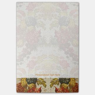 Materia textil con un estampado de flores de notas post-it®