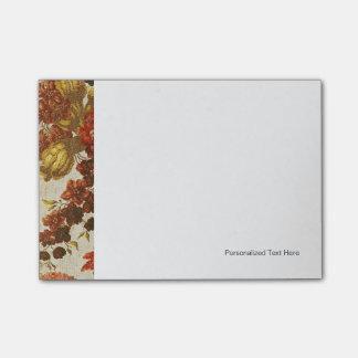 Materia textil con un estampado de flores de post-it® nota