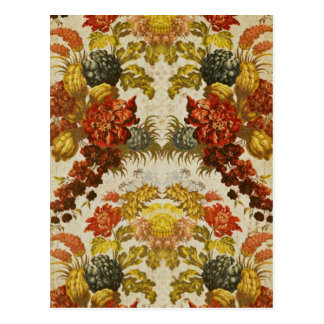Materia textil con un estampado de flores de postal