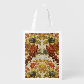Materia textil con un estampado de flores de repet bolsas reutilizables
