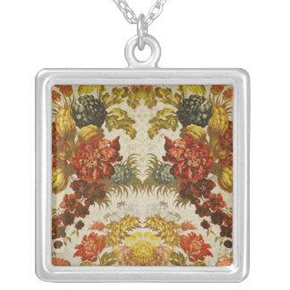 Materia textil con un estampado de flores de repet colgante cuadrado