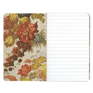 Materia textil con un estampado de flores de repet cuaderno grapado