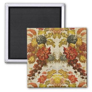 Materia textil con un estampado de flores de repet imán cuadrado