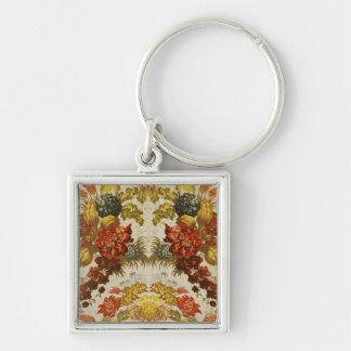 Materia textil con un estampado de flores de repet llavero cuadrado plateado