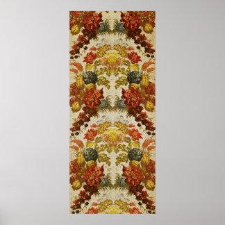 Materia textil con un estampado de flores de repet póster