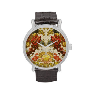 Materia textil con un estampado de flores de repet relojes de pulsera