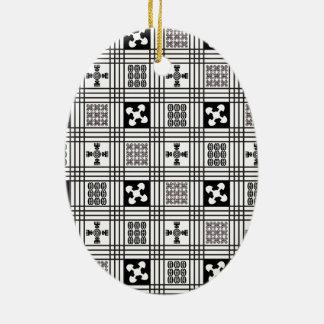 Materia textil de Africa Occidental de Adinkra Adorno Navideño Ovalado De Cerámica