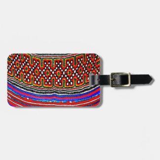 Materia textil de la tribu de la colina etiqueta para maleta