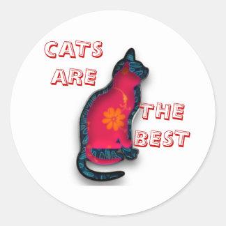 Materia textil de los gatos pegatina redonda