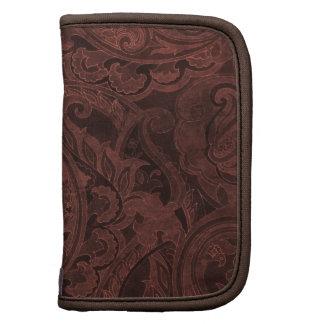 Materia textil de Paisley del vintage de Brown del Planificador