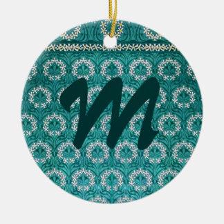 Materia textil decorativa de la flor del trullo adorno navideño redondo de cerámica