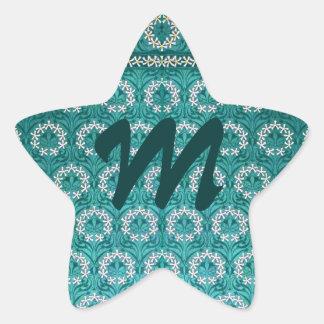 Materia textil decorativa de la flor del trullo pegatina en forma de estrella