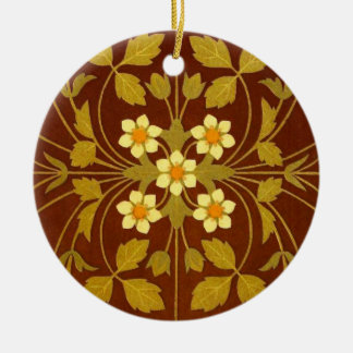 Materia textil floral terrosa de Brown Adorno Navideño Redondo De Cerámica