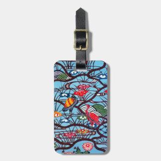 Materia textil japonesa del kimono del vintage (Bi Etiquetas De Equipaje