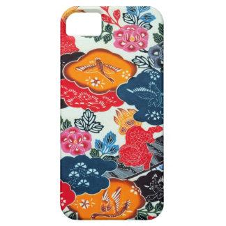 Materia textil japonesa del kimono del vintage Bi iPhone 5 Case-Mate Cárcasas