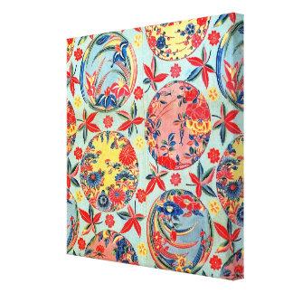 Materia textil japonesa del kimono del vintage (Bi Impresión De Lienzo
