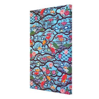 Materia textil japonesa del kimono del vintage (Bi Impresión En Lona
