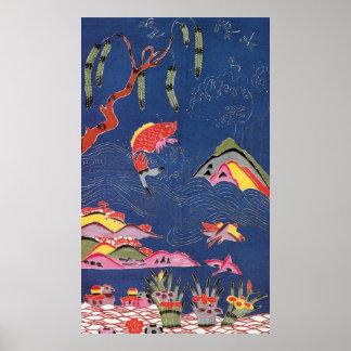 Materia textil japonesa del kimono del vintage (Bi Posters