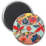 Materia textil japonesa del kimono del vintage imán redondo 5 cm