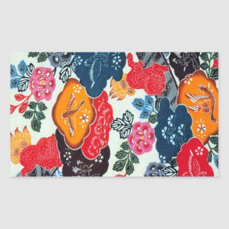 Materia textil japonesa del kimono del vintage pegatina rectangular