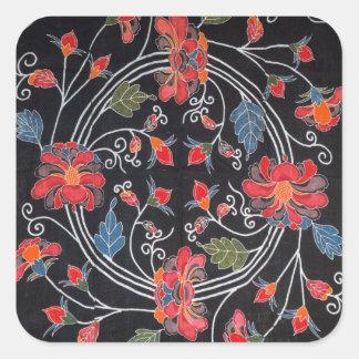 Materia textil japonesa del kimono del vintage pegatina cuadrada