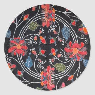 Materia textil japonesa del kimono del vintage pegatina redonda