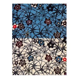 Materia textil japonesa del kimono del vintage postal
