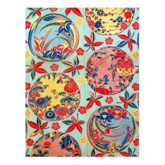 Materia textil japonesa del kimono del vintage tarjeta postal