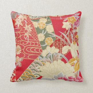 Materia textil japonesa del KIMONO, estampado de f Cojín