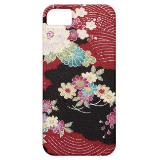 Materia textil japonesa del KIMONO, estampado de f iPhone 5 Carcasas