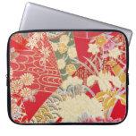 Materia textil japonesa del KIMONO, estampado de f Fundas Portátiles