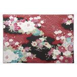 Materia textil japonesa del KIMONO, estampado de f Mantel