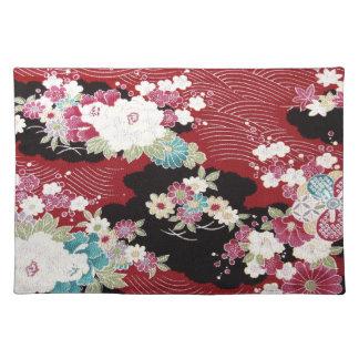 Materia textil japonesa del KIMONO, estampado de f Manteles Individuales