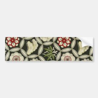 Materia textil japonesa del KIMONO, estampado de f Pegatina Para Auto
