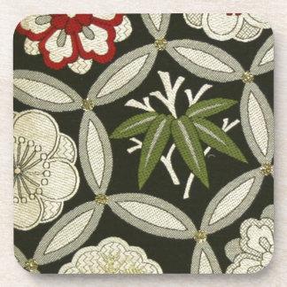 Materia textil japonesa del KIMONO, estampado de f Posavasos
