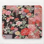 Materia textil japonesa del KIMONO, estampado de f Alfombrilla De Ratón
