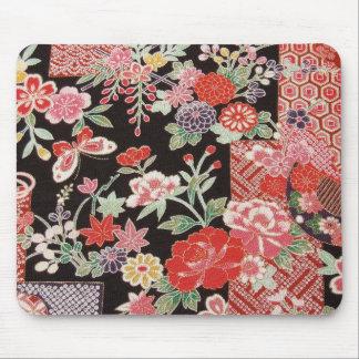 Materia textil japonesa del KIMONO, estampado de f Alfombrillas De Raton