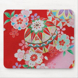 Materia textil japonesa del KIMONO, estampado de f Alfombrillas De Ratón