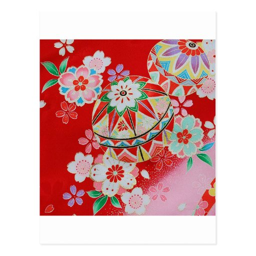 Materia textil japonesa del KIMONO, estampado de f Postales