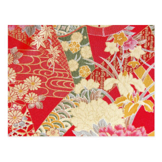 Materia textil japonesa del KIMONO, estampado de f Tarjeta Postal