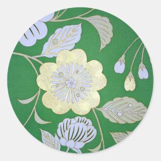 Materia textil japonesa del KIMONO, estampado de Pegatina Redonda