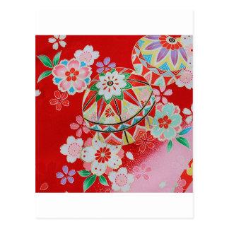 Materia textil japonesa del KIMONO, estampado de Postal
