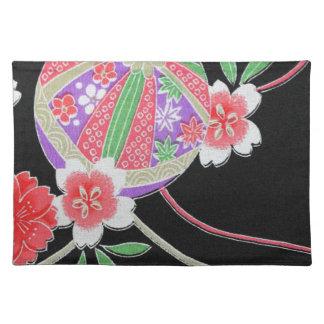 Materia textil japonesa del KIMONO, modelo del flo Mantel Individual